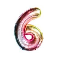 1x Folien Luftballon mit Zahl 6 Kinder Geburtstag Jubiläum Party Deko Ballon bunt