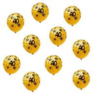 10x Luftballons Zahl 40 Geburtstag Jubiläum Ballons - gelb schwarz