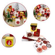 DIY Adventskalender Set - 24 Pappschachteln Boxen + 24 Zahlen Sticker Aufkleber für Advent Weihnachten