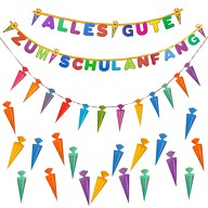 Schuleinführung Schulanfang Einschulung Deko Set - Girlanden + Zuckertüte Konfetti Set