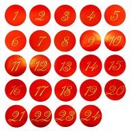 24 Adventskalender Sticker Zahlen Aufkleber Weihnachten Basteln Weihnachtsdeko - rot gold
