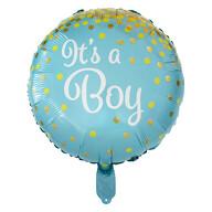 Folien Luftballon It's a Boy! Folienballon für Baby Shower Party Deko Geburt Junge rund - blau