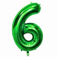 1x Folien Luftballon mit Zahl 6 Kinder Geburtstag Jubiläum Silvester Party Deko Ballon grün