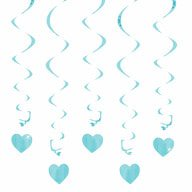 5 Girlande Spiral Deckenhänger mit Herz - hellblau