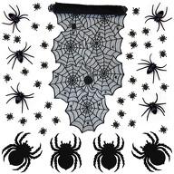 Halloween Deko Set - Spinnennetz Tischläufer + 4 Filz Spinnen Untersetzer + 6 große Spinnen + 500 Stk. Spinnen Konfetti