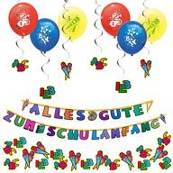 Schuleinführung Schulanfang Einschulung Deko Set - Girlanden + Luftballons + Konfetti