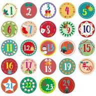 24 Adventskalender Sticker Zahlen Aufkleber Weihnachten Basteln Weihnachtsdeko - bunt