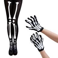 Skelett Kostüm Accessoire Set - Skelett Strumpfhose + Skelett Handschuhe für Halloween Fasching uvm