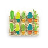 10 Mini Wäscheklammern Holz Miniklammern Deko Klammern - Kaktus