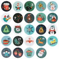 24 Adventskalender Sticker Zahlen Aufkleber Weihnachten Basteln Weihnachtsdeko - Winter Motive