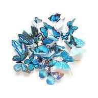 3D Schmetterlinge 12er Set Wandtattoo Wandsticker Wanddeko - blau