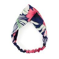 Haarband Stirnband Blumen Motiv Haarschmuck Kopfschmuck - blau pink