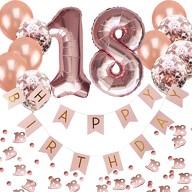 18. Geburtstag Party Deko Set - Girlande + Zahl 18 Ballons + Konfetti Luftballon Set + Konfetti