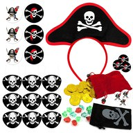 Pirat Kostüm Accessoire Set für Kinder - Augenklappen + Buttons + Hut + Piraten Schatz