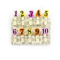 10 Mini Wäscheklammern Holz Miniklammern Deko Klammern - Zahlen 1-10