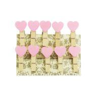 10 Mini Wäscheklammern Holz Miniklammern Deko Klammern - rosa Herzen