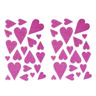 42 Herz Aufkleber Herzen Sticker Set mit Glitzer Scrapbooking Geburtstag Valentinstag - pink