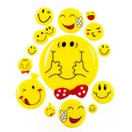 14 3D Smiley Smilies Sticker Aufkleber Emoji Set Deko Basteln