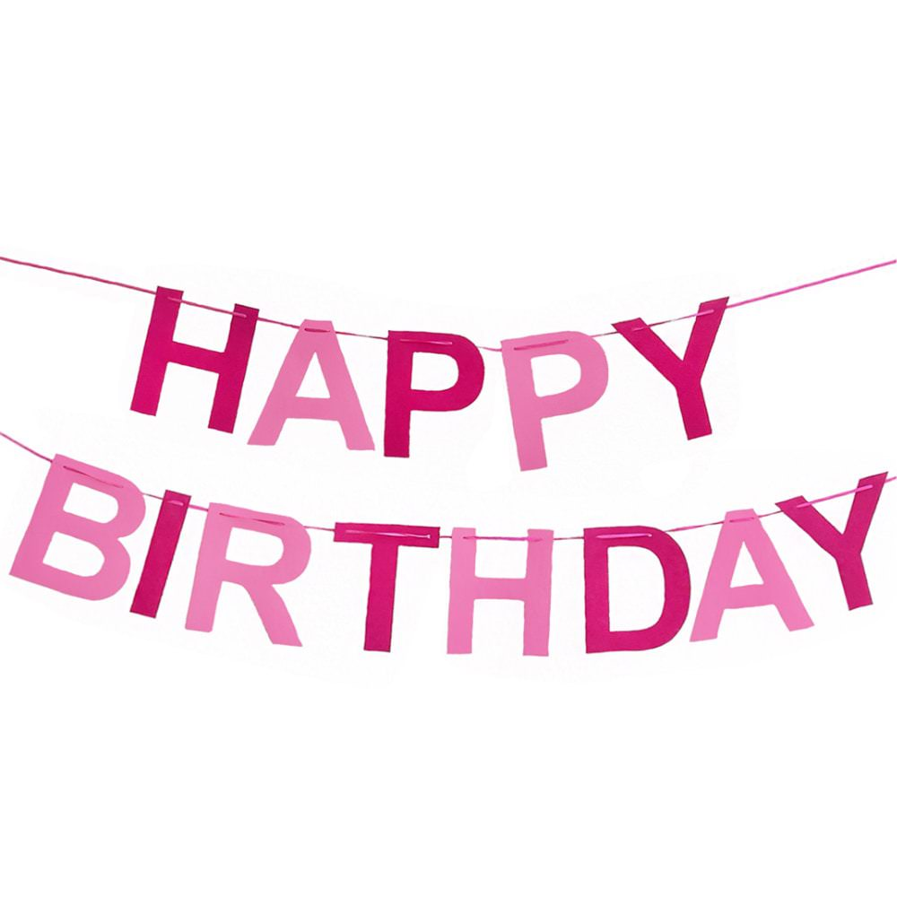 happy birthday girlande banner geburtstag party m dchen pink rosa. Black Bedroom Furniture Sets. Home Design Ideas