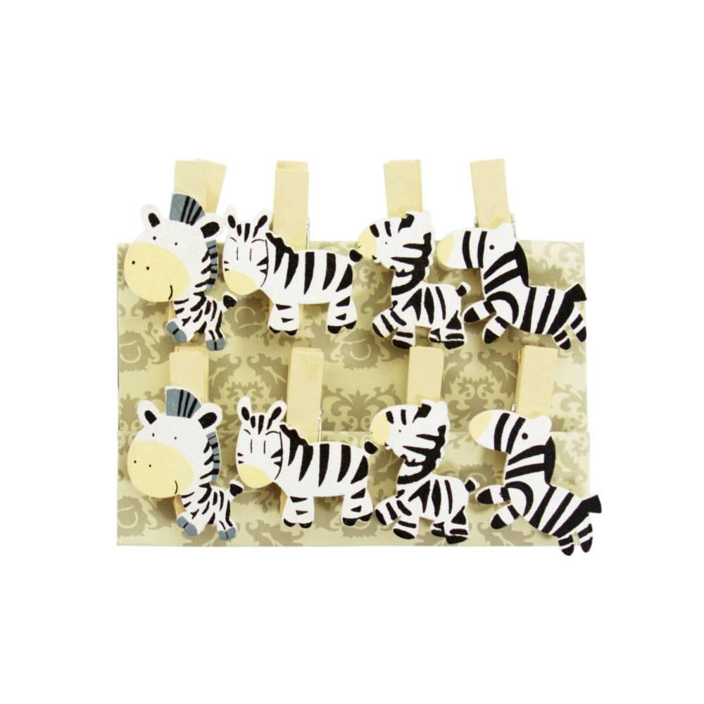 8 mini w scheklammern holz miniklammern deko klammern zebras. Black Bedroom Furniture Sets. Home Design Ideas