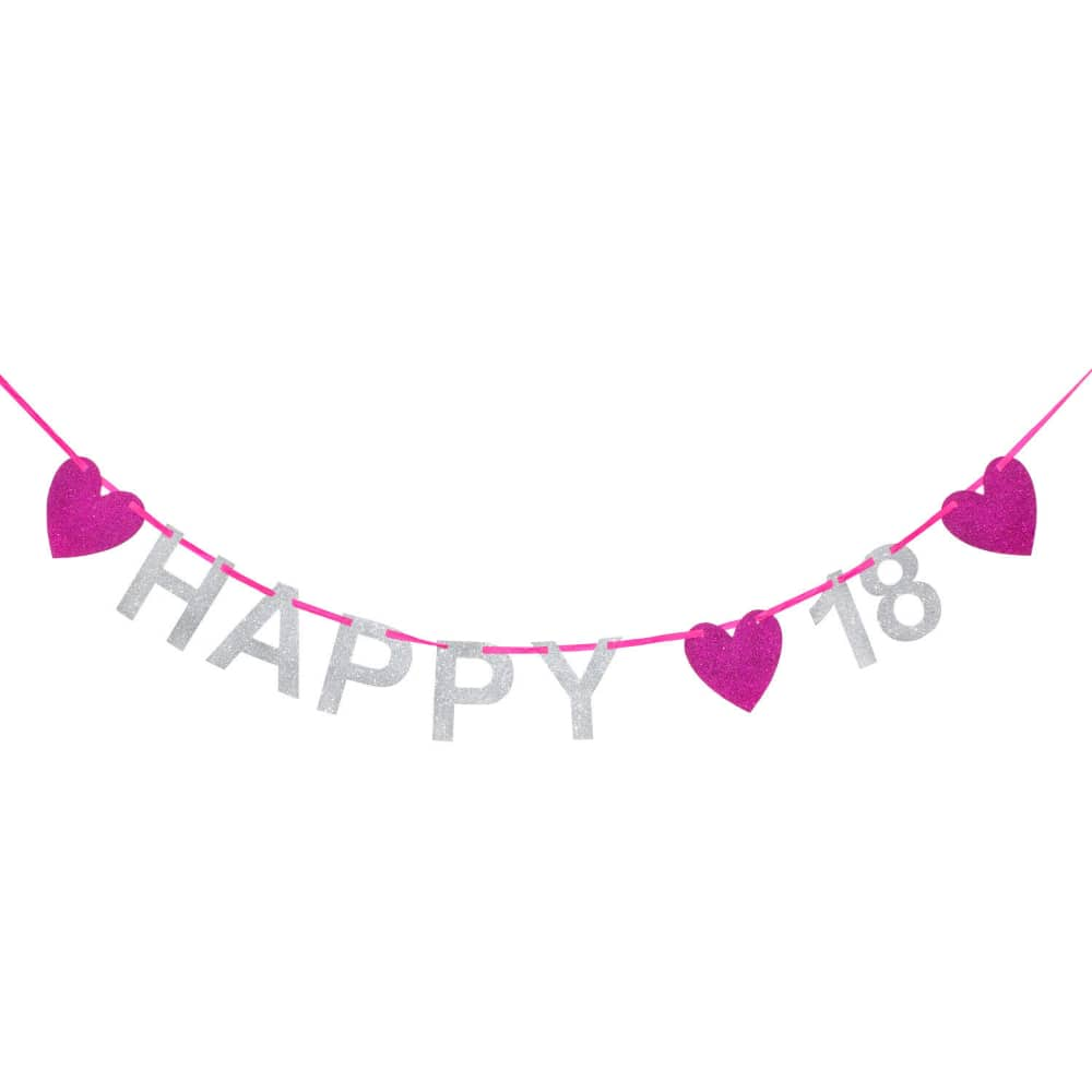 happy 18 girlande banner geburtstag birthday party silber pink. Black Bedroom Furniture Sets. Home Design Ideas