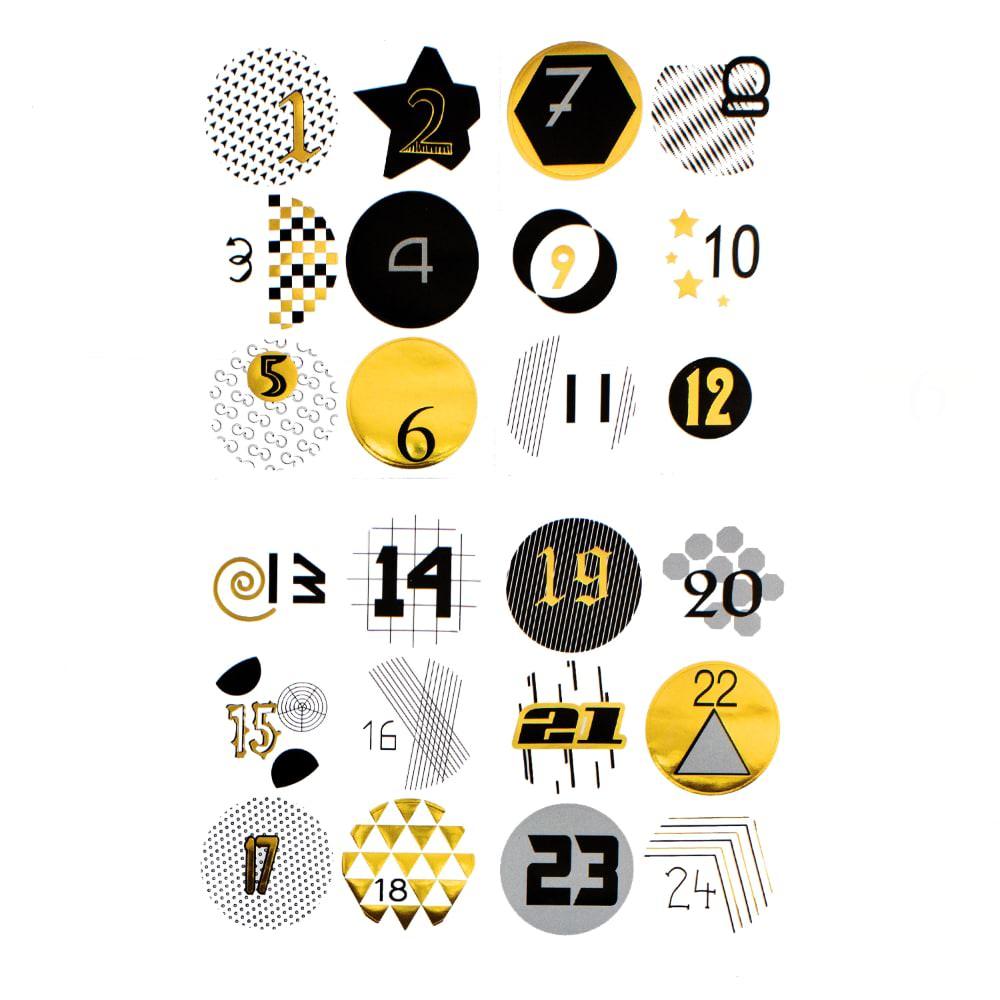 24 Adventskalender Sticker Zahlen Aufkleber Weihnachten Basteln Gold