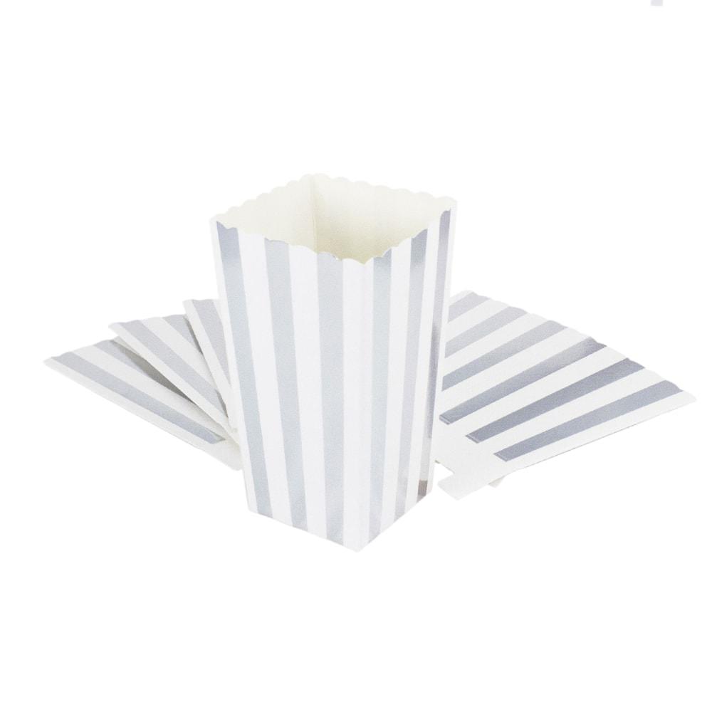 popcorn schachtel t te snack box 8 stk tisch deko wei silber. Black Bedroom Furniture Sets. Home Design Ideas