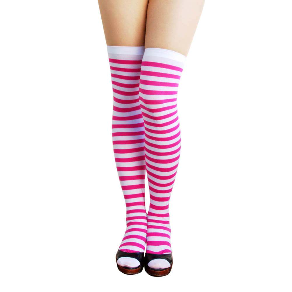 31de3df7d82e1 Ringel Strumpfhose Overknee geringelt gestreift - weiss pink