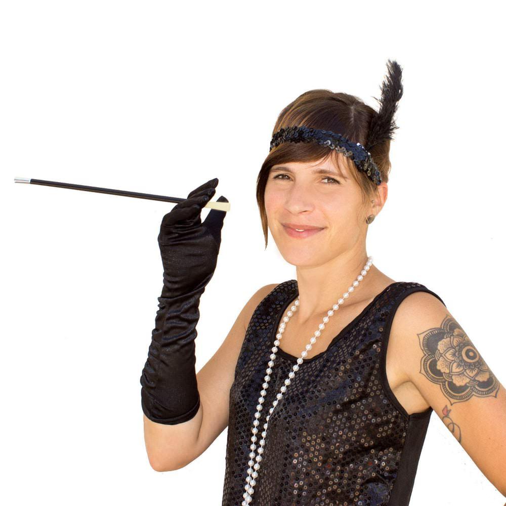 Stirnband 1920er Jahre Charleston Haarband Party Fasching Schwarz