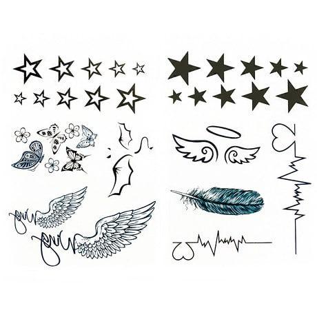 34 Stk Temporäre Tattoos Klebetattoo Tättowierung - Sterne Flügel ...