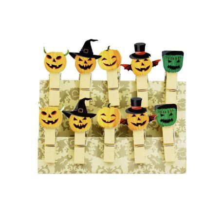 10 Mini Wäscheklammern Holz Miniklammern Deko Klammern - Halloween