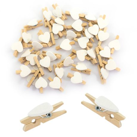 50 Mini Wäscheklammern Holz Miniklammern Deko Klammern - weiße Herzen