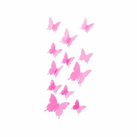 3D Schmetterlinge 12er Set Wandtattoo Wandsticker Wanddeko - rosa