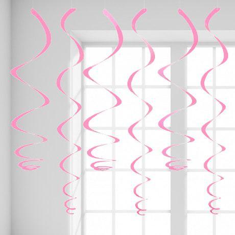 12 Wirbel Deckenhänger Girlande mit Bänder und Ösen - rosa