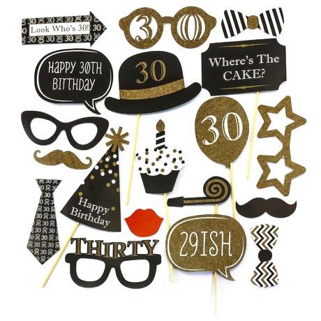 20 Fotorequisiten Fotoaccessoires 30. Geburtstag Party Feier Masken Foto Props