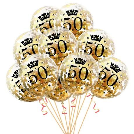 10x Konfetti Luftballons Zahl 50 Geburtstag Happy Birthday 50 Ballons