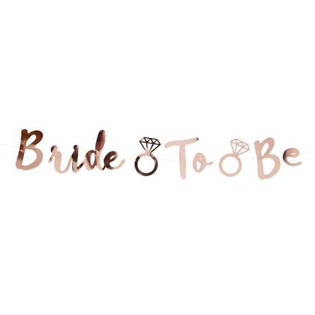Bride To Be Girlande Banner 1,5m JGA Hen Party Feier Deko - roségold