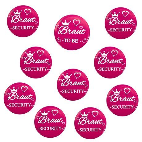 Button Set JGA Junggesellinnenabschied - 1x Braut To Be / 9x Braut Security