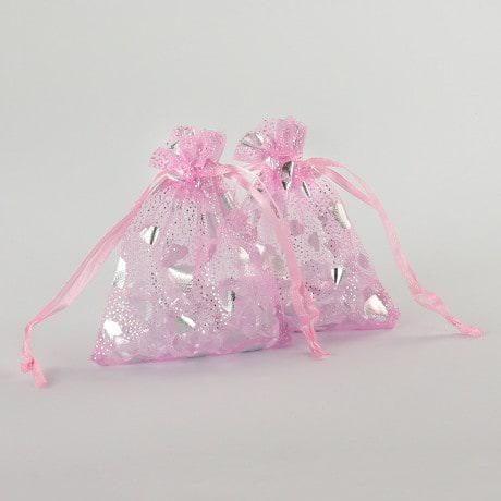 Organzasäckchen Organzabeutel Schmuckbeutel Säckchen rosa Herzen