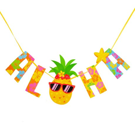 Girlande Aloha mit Ananas Sommer Hawaii Party Geburtstag Deko bunt