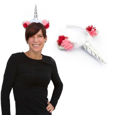 Haarreifen Einhorn Haarreif Unicorn Fasching Karneval JGA silber