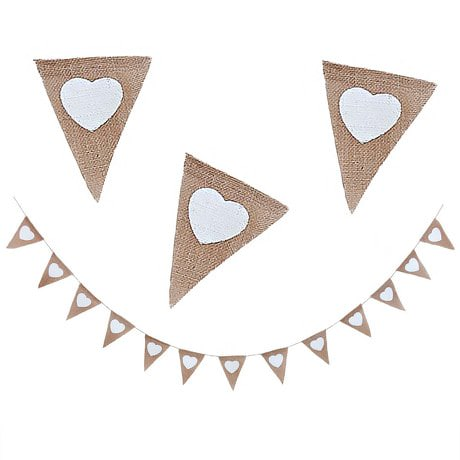 Herz Herzen Hochzeit Girlande Banner - Jute