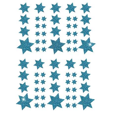 68 Sterne Sticker Aufkleber Glitzernd Funkelnd Weihnachtsdeko Weihnachtssterne - türkis