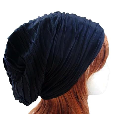 Long Beanie Jersey Mütze Slouch XXL Mützen - wrinkled blau