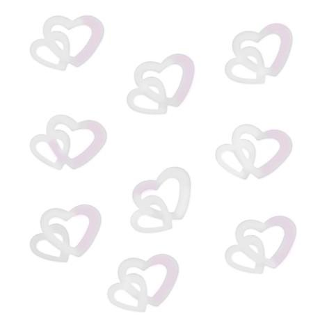Herz Konfetti Tischdeko Hochzeitsdeko Liebe Romantik - weiß irisierend