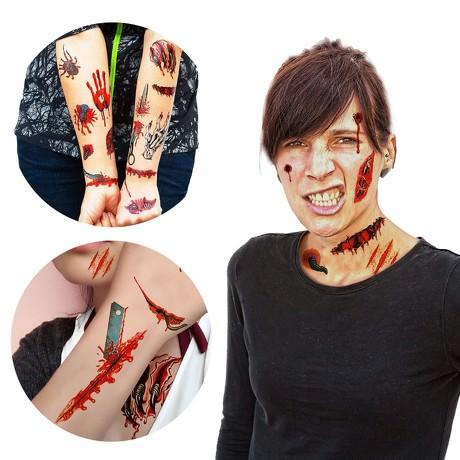 Temporäre Tattoos Horror Halloween Klebetattoos Wunden - 26 Motive