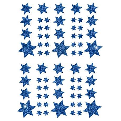 68 Sterne Sticker Aufkleber Glitzernd Funkelnd Weihnachtsdeko Weihnachtssterne - blau