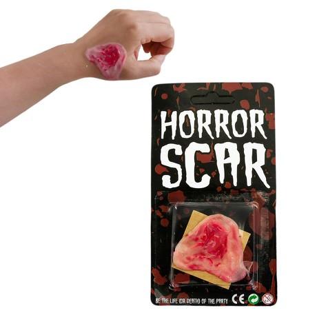 Blutige Wunde Haut Applikation aus Latex - Halloween Fasching Karneval