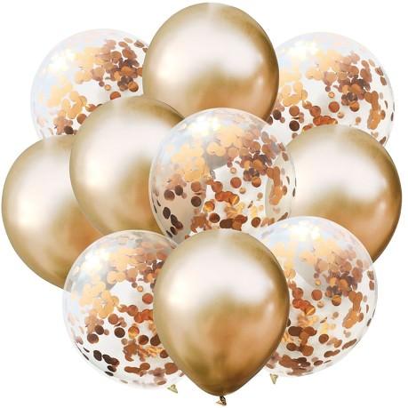 Konfetti Luftballon Set 10 Stk Geburtstag Party Hochzeit JGA Deko - champagner