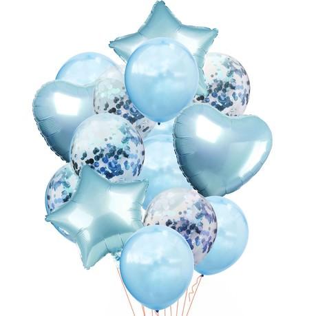 Konfetti Folien Luftballon Set 14 Stk Geburtstag Party Hochzeit JGA - blau
